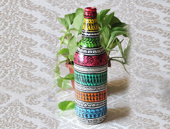 painted bottle vase